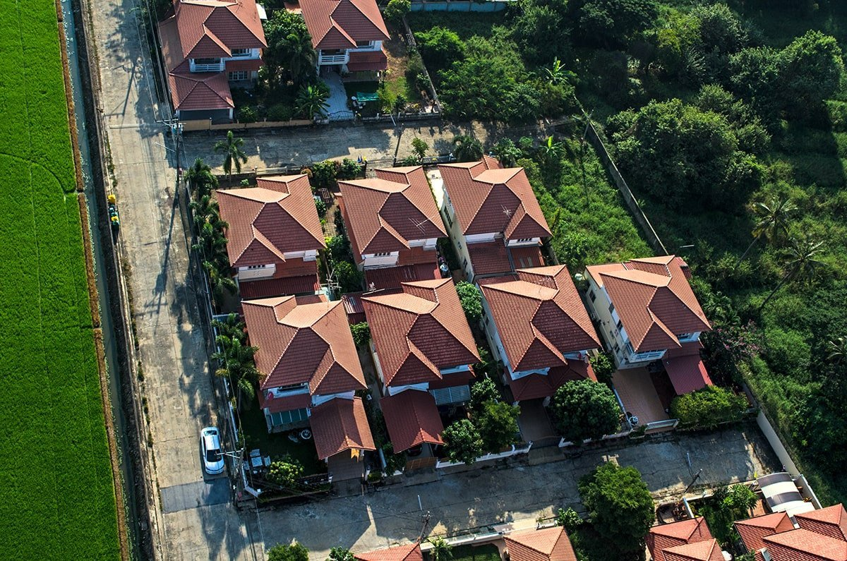 Aerial view of house roofs