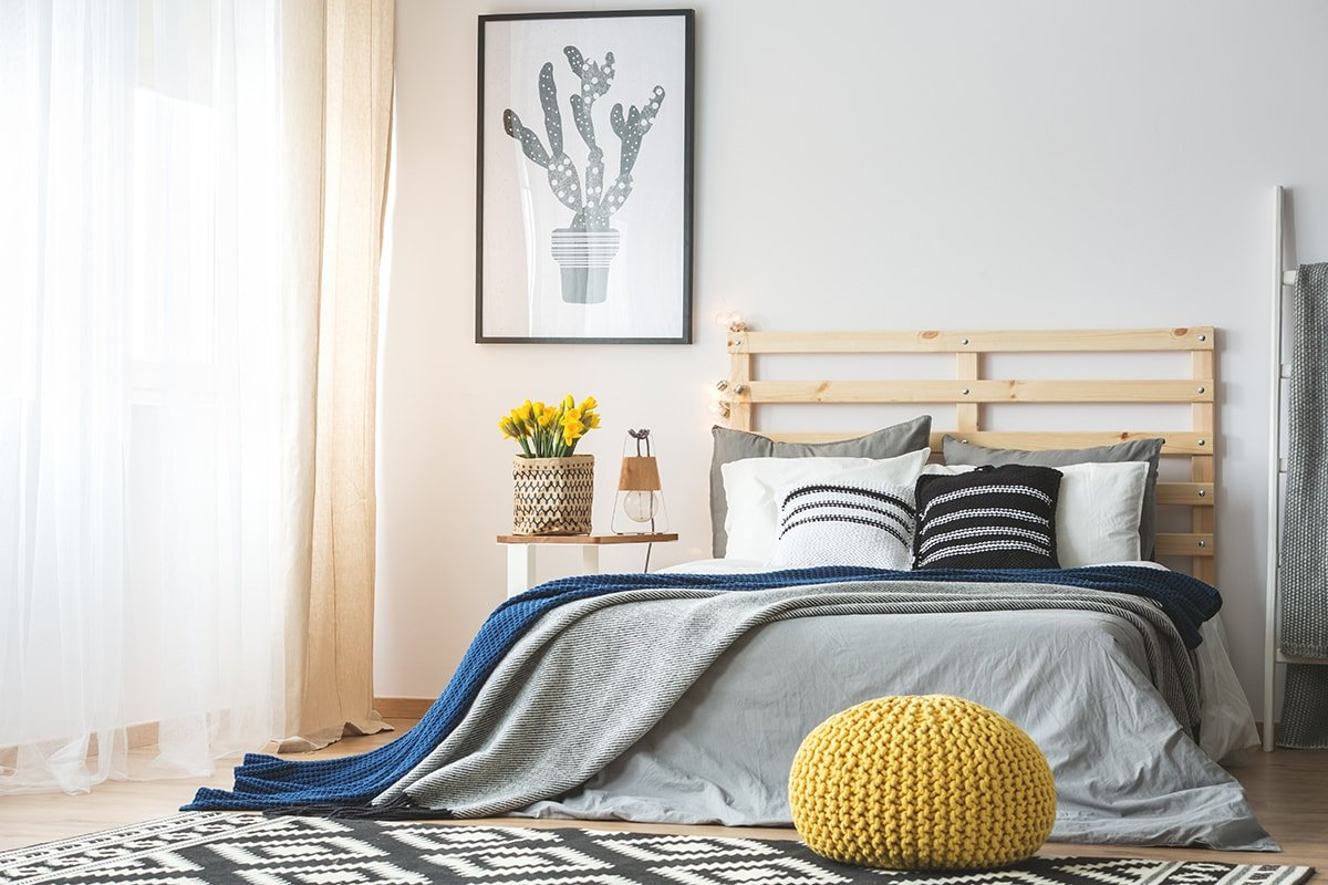 Trendy and bright bedroom