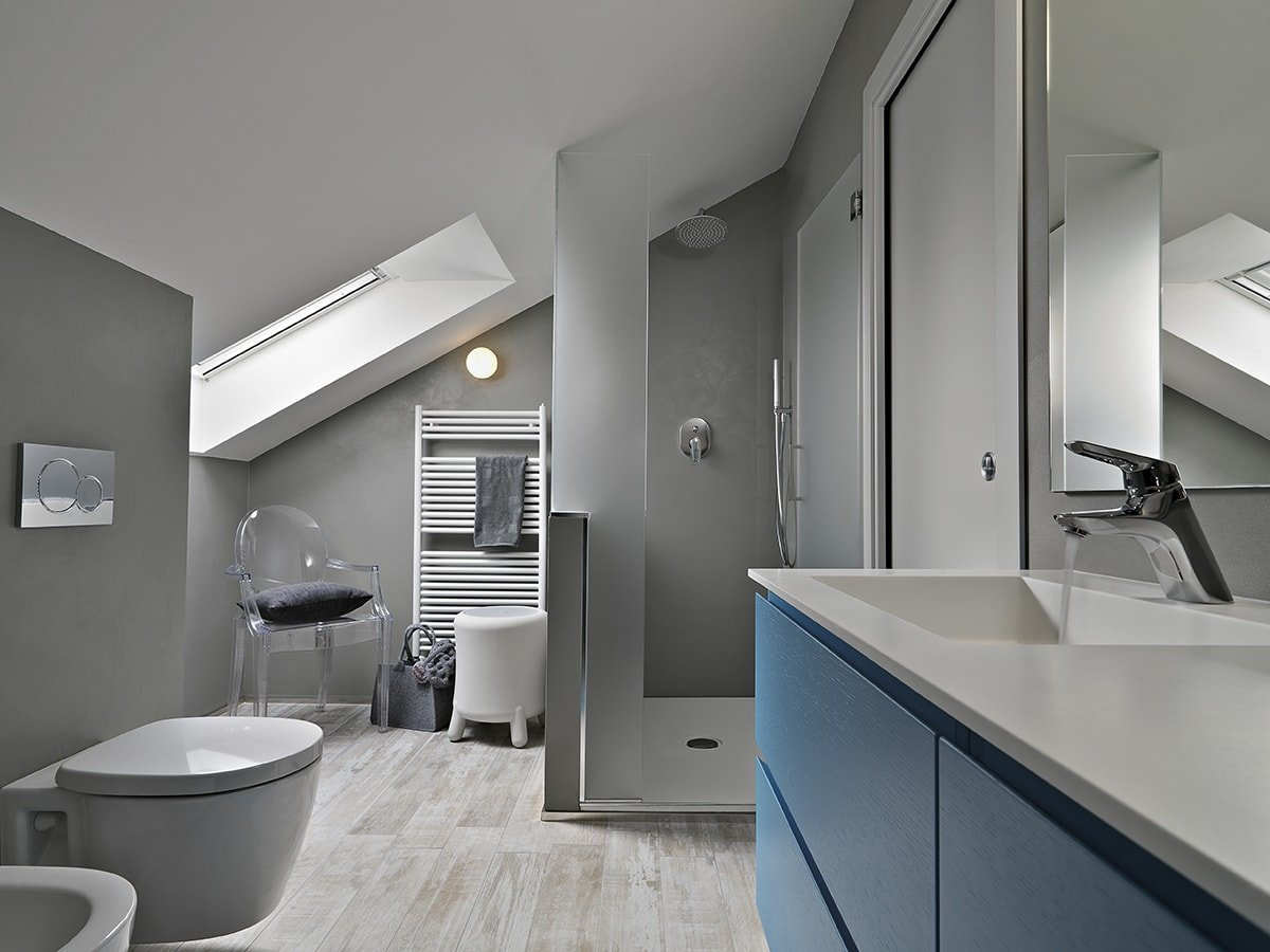Modern bathroom with blue cabinets