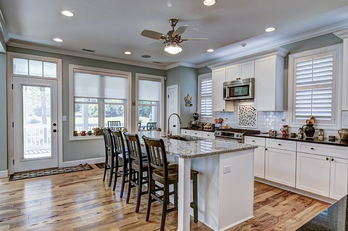 Kitchen with ceiling treatments