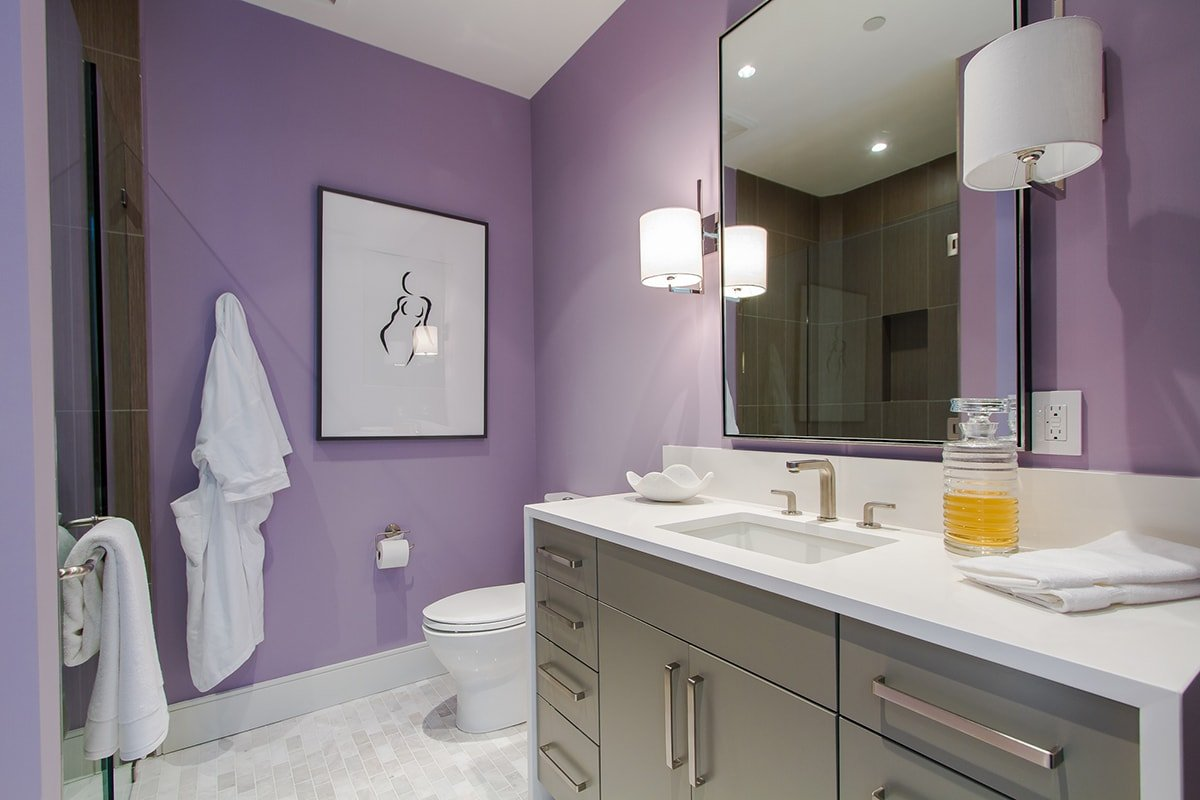 Bathroom with purple paint