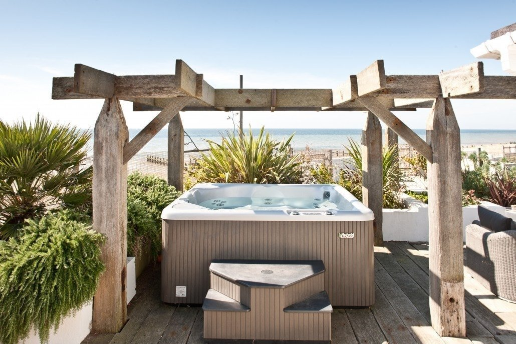 Beautiful hot tub on beach