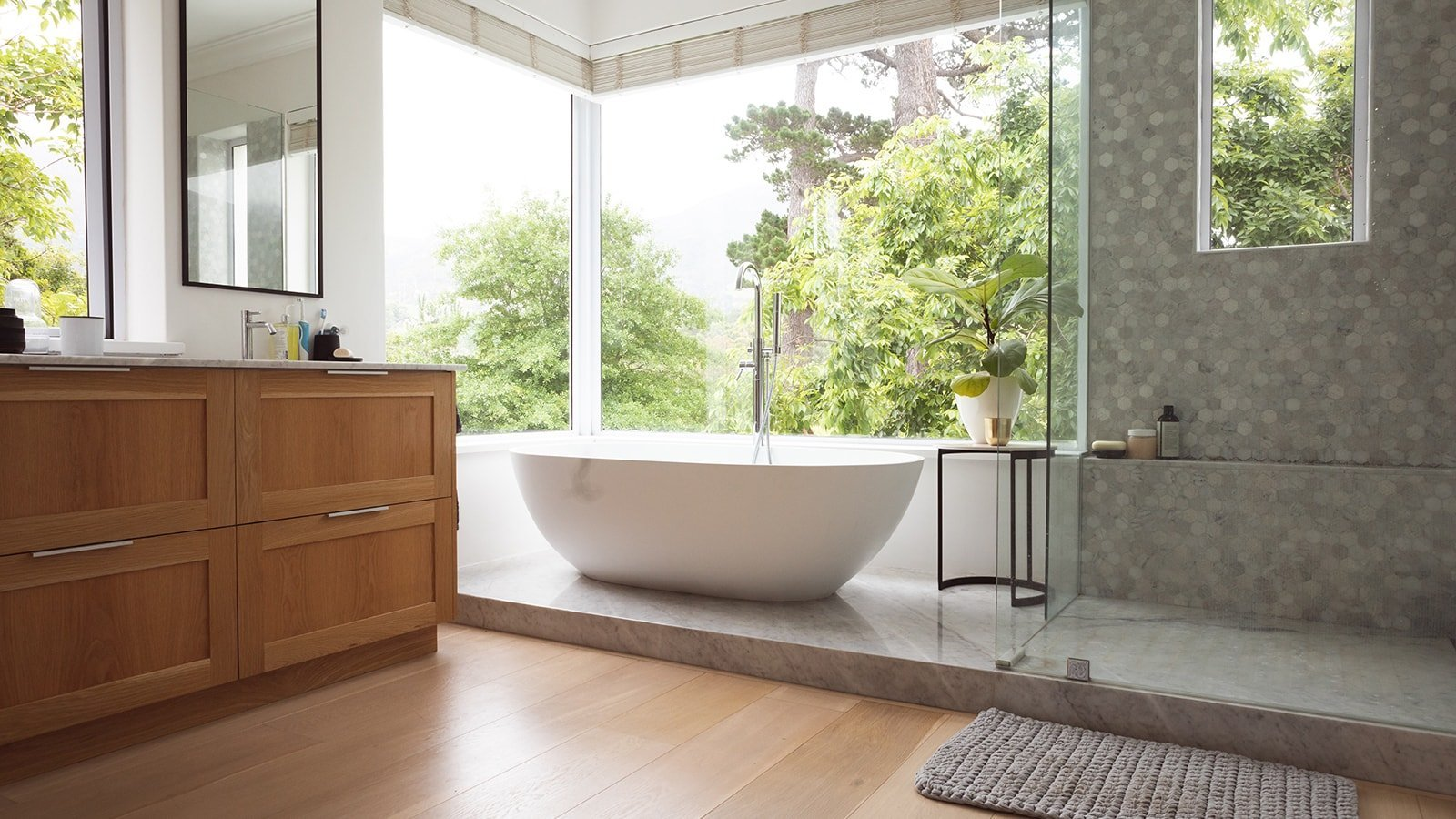 Modern bathroom with large window