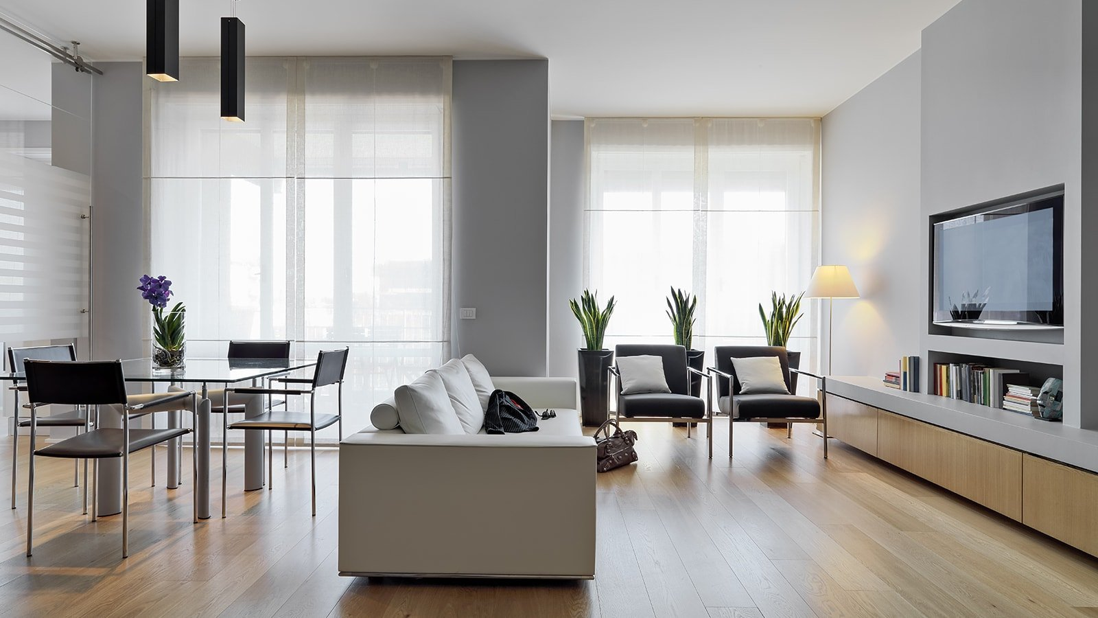 Modern living room with wall mounted television