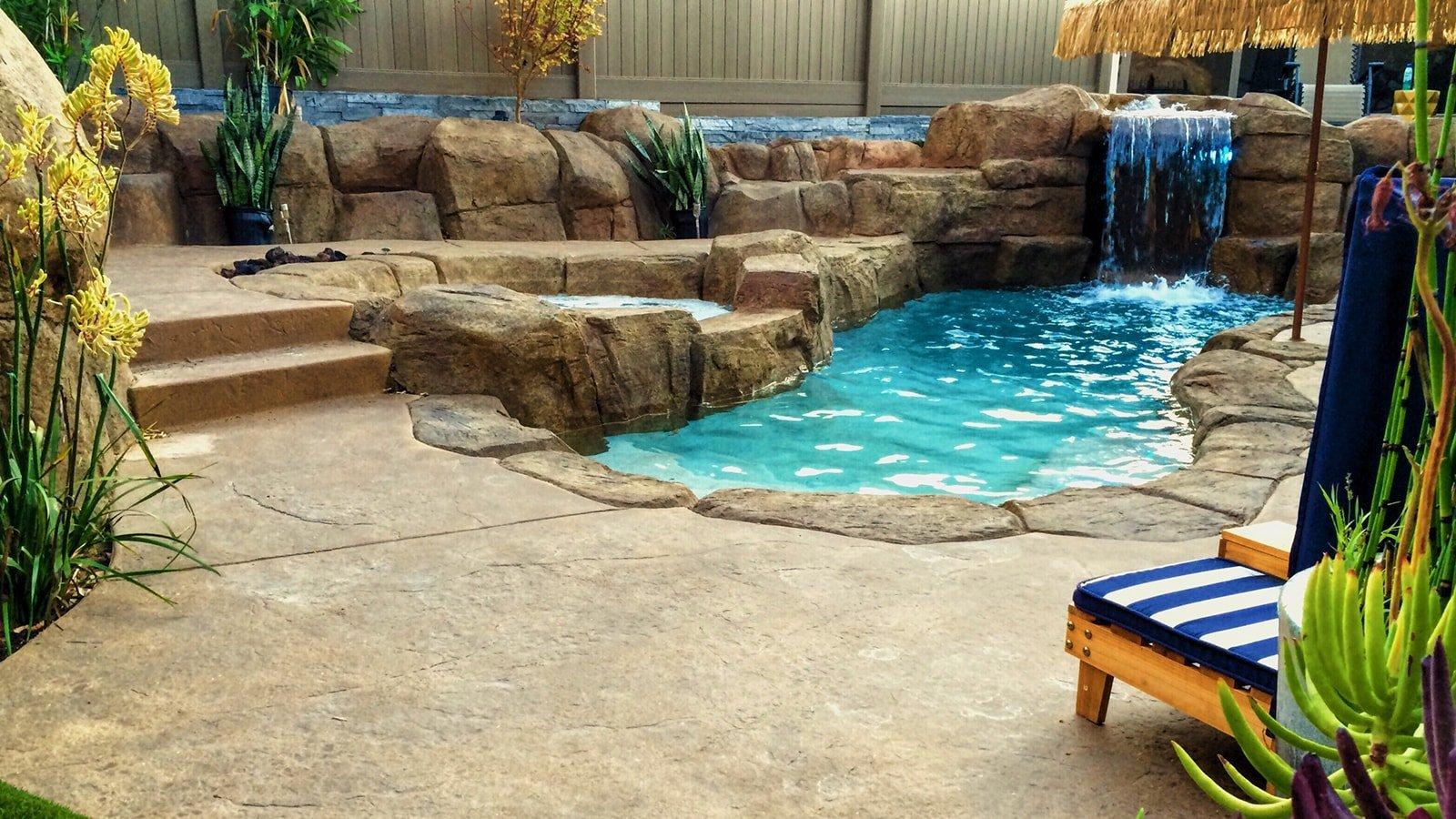 Backyard with beautiful hot tub and pool