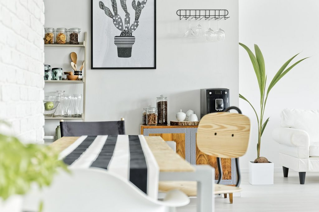 Clean bright dining room