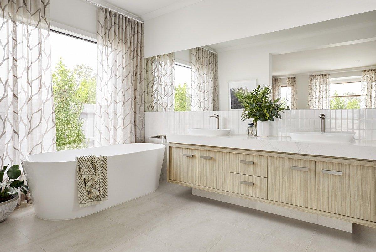 Modern bathroom with houseplants