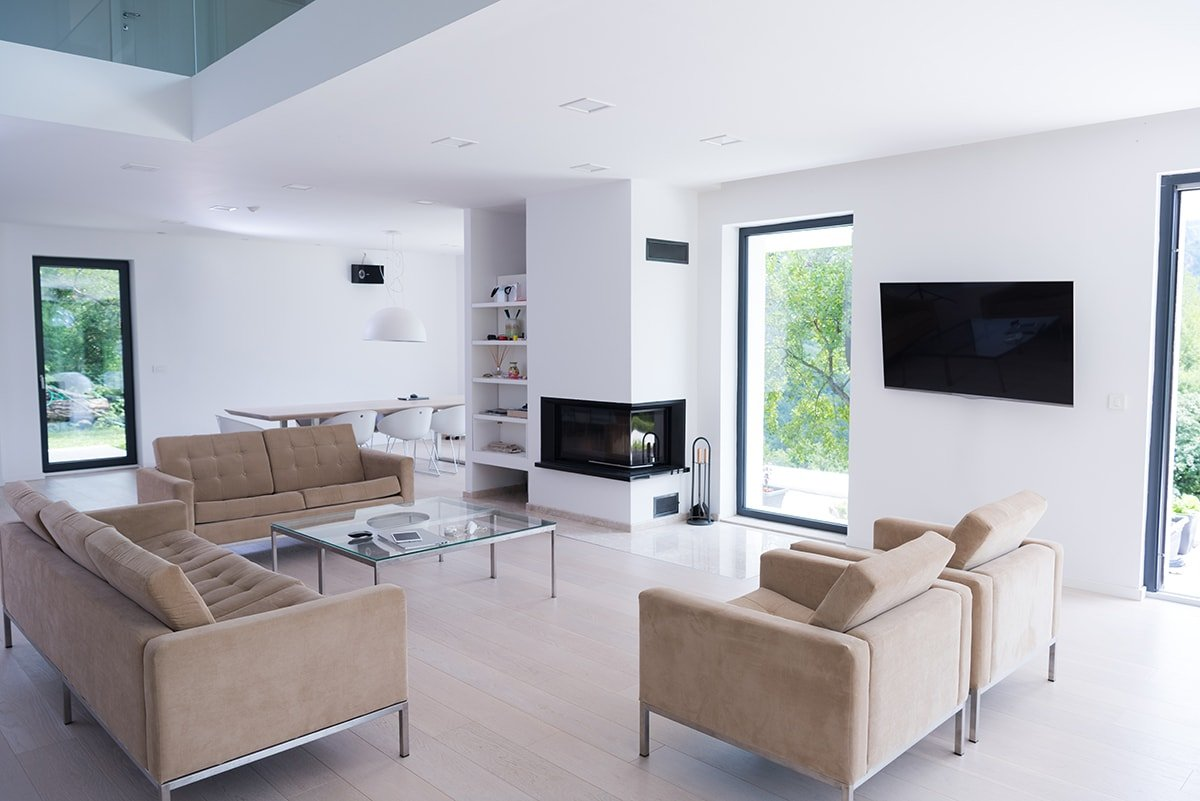 Luxury living room with TV on wall