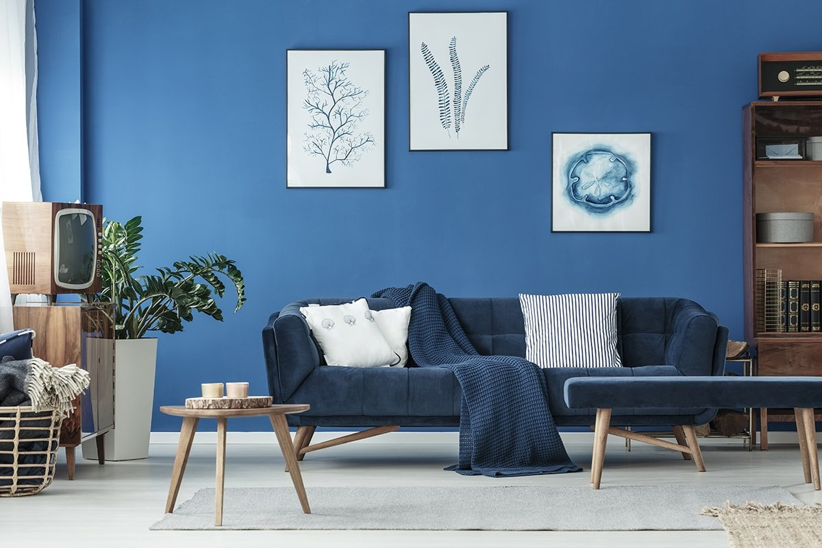 Blue living room with no clutter
