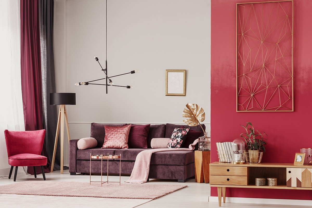 Living room with bold colours