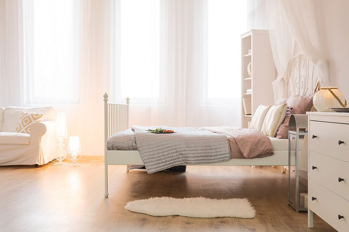 Freshly cleaned and vacuumed bedroom