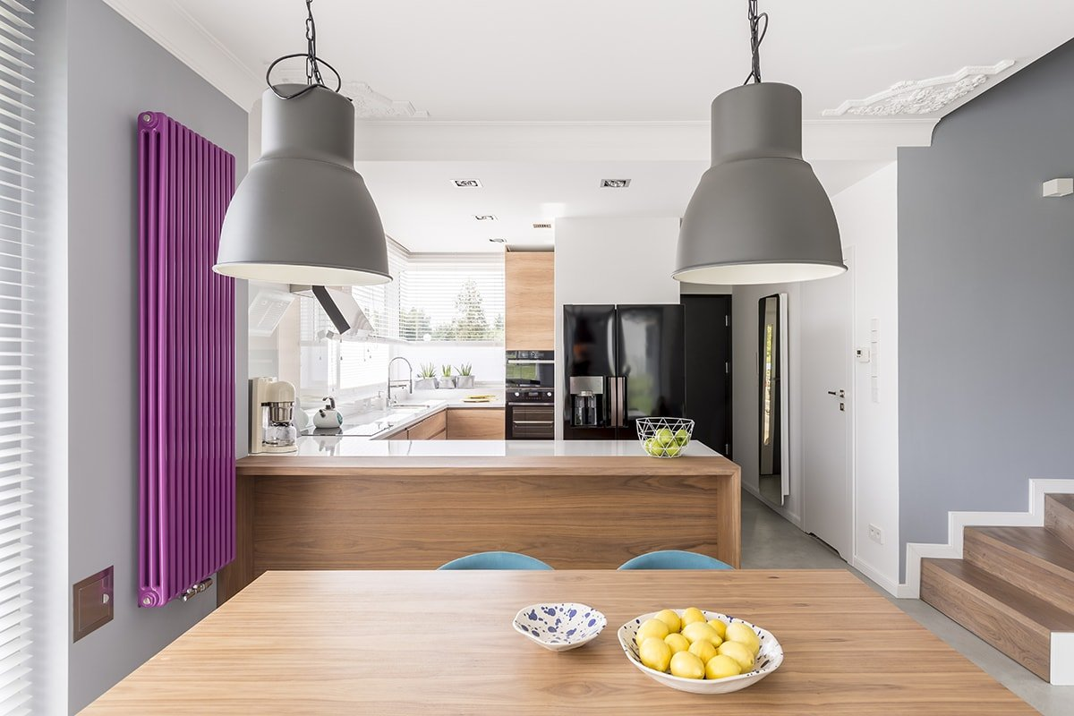 Kitchen with bright pops of color