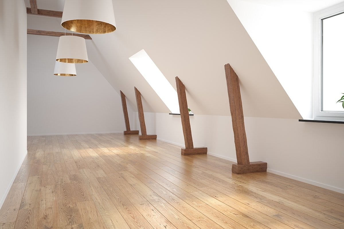 Empty newly renovated loft with wood floor