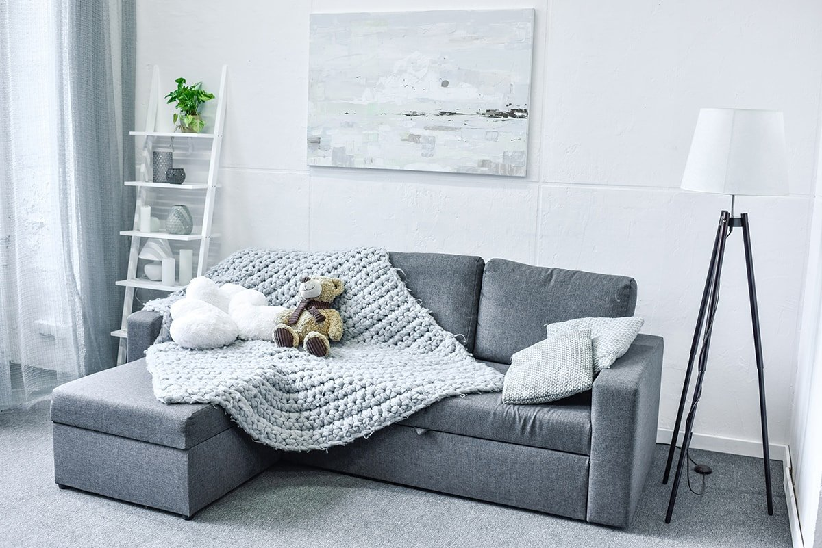 Grey themed living room in and ADU