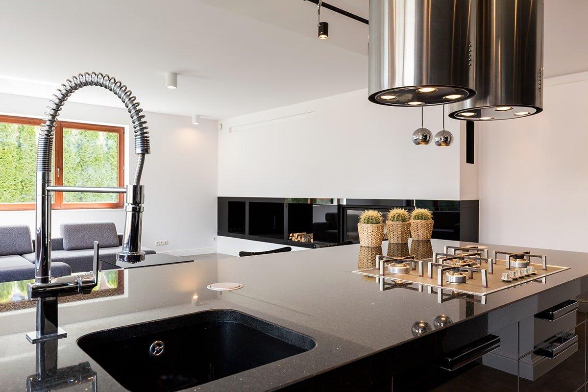 Island in modern kitchen