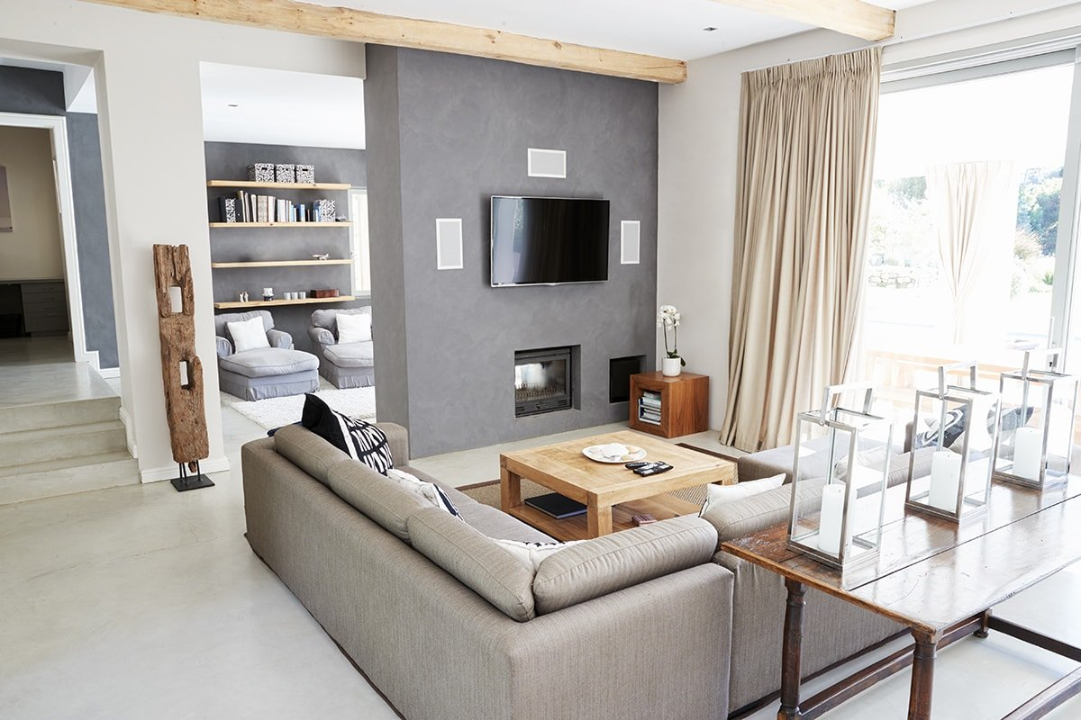 Living room with wood accents