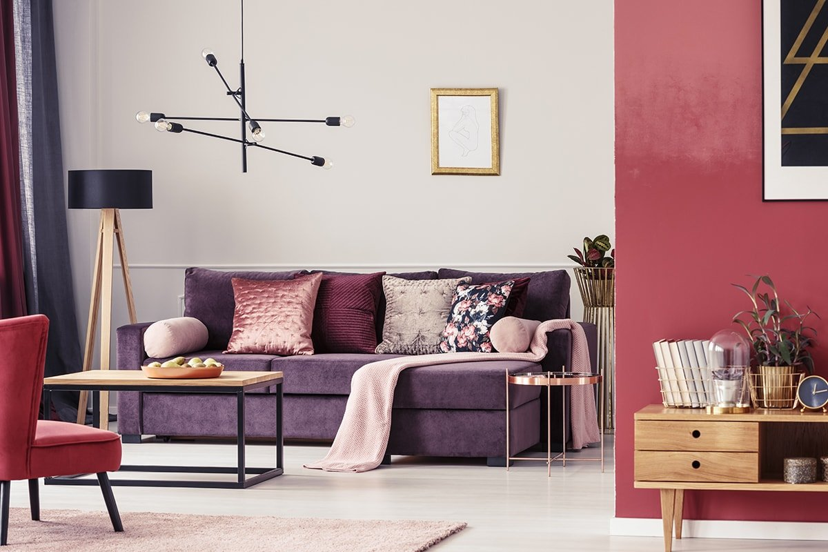 Red and purple-themed living room