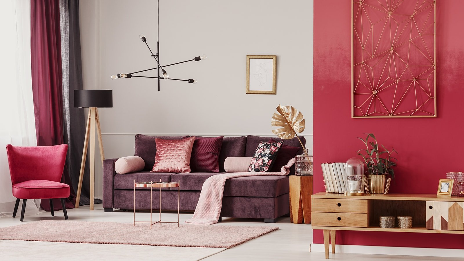 Living room with red walls