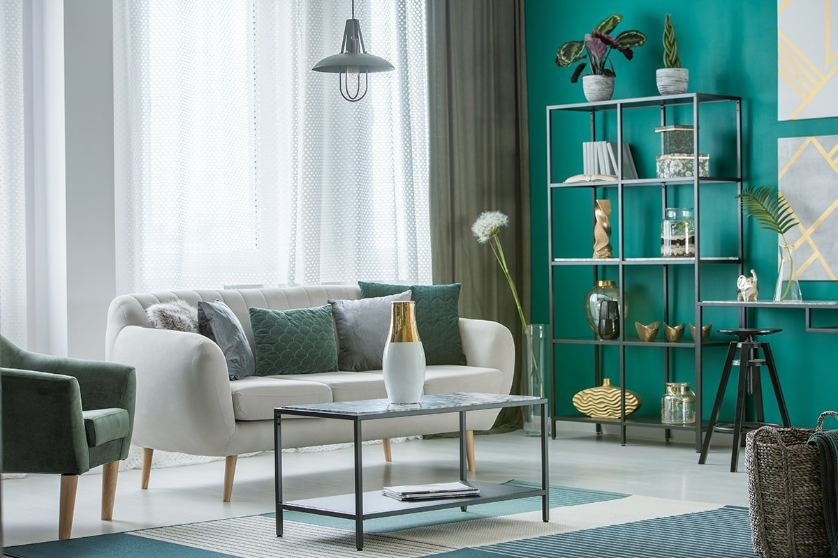 Teal-themed living room