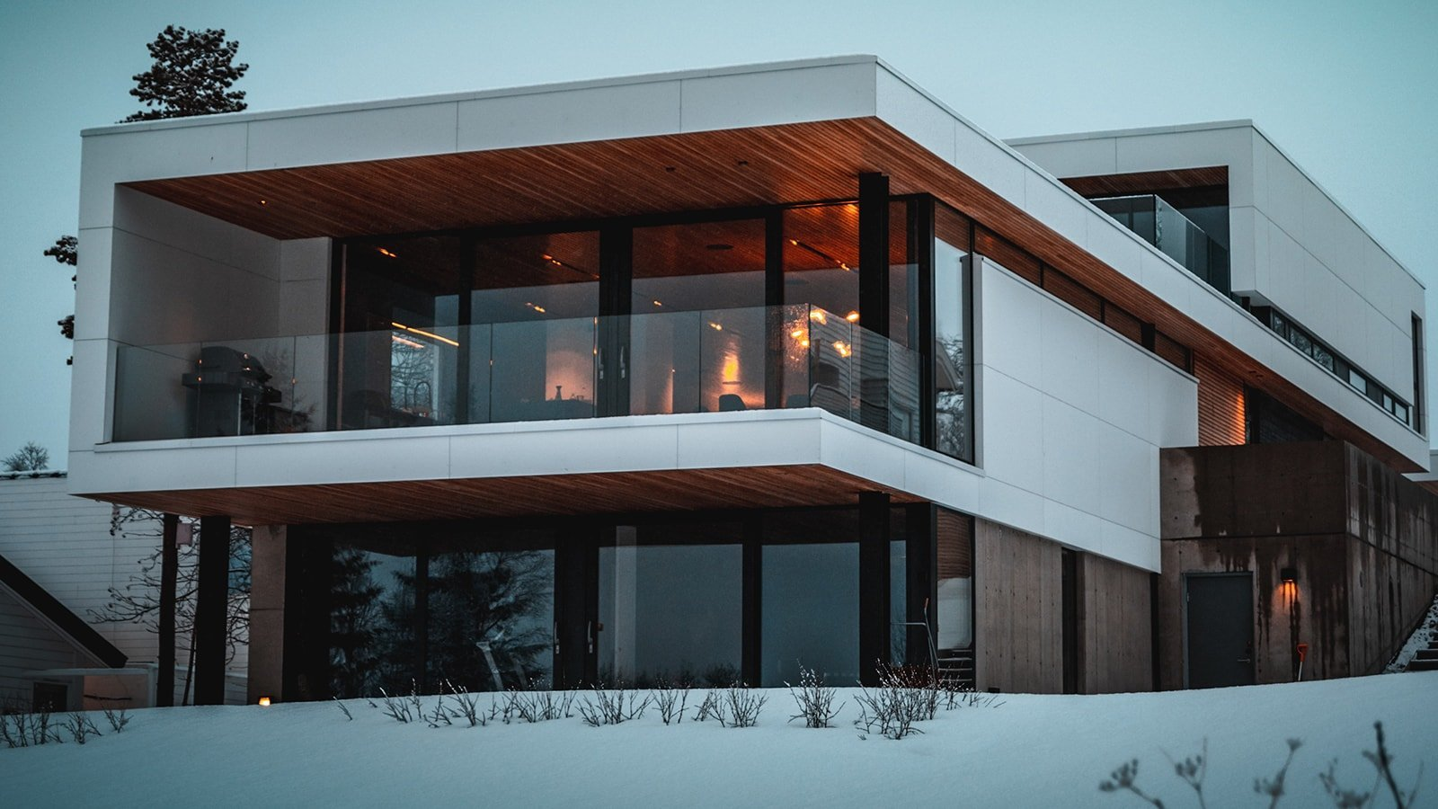 Modern house in the winter