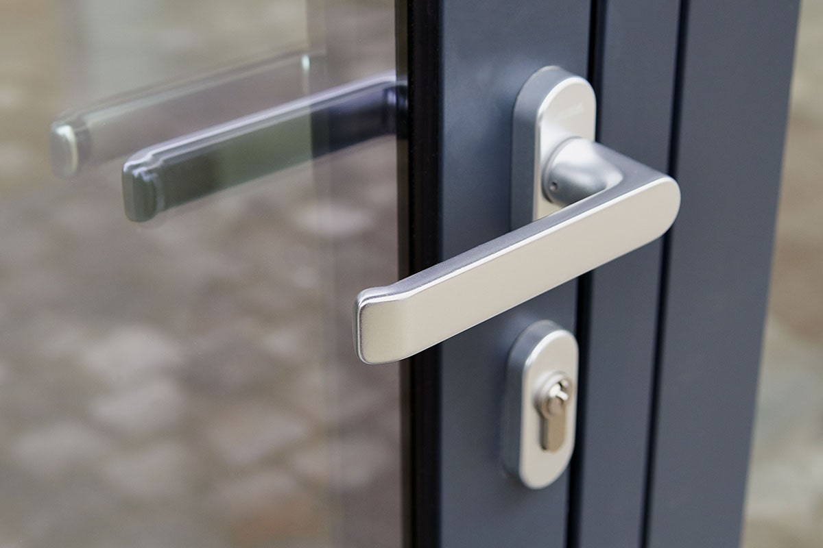 Black door with lock