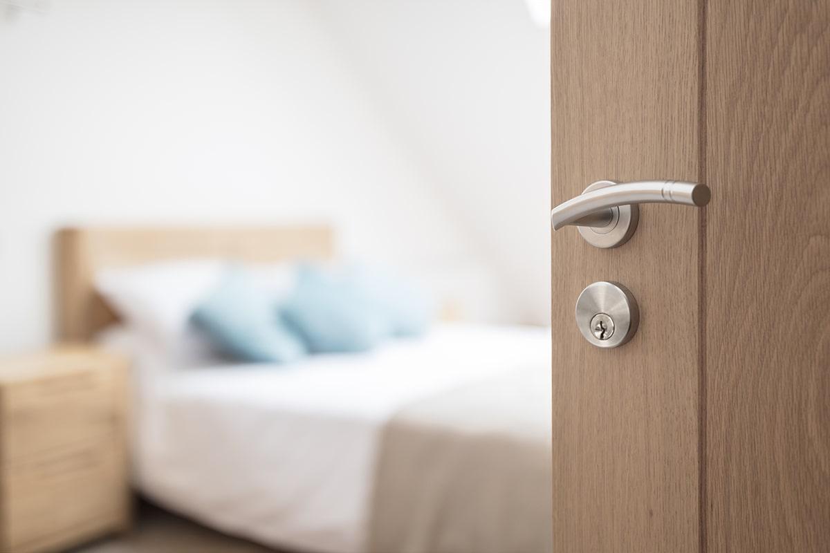Wood door and lock