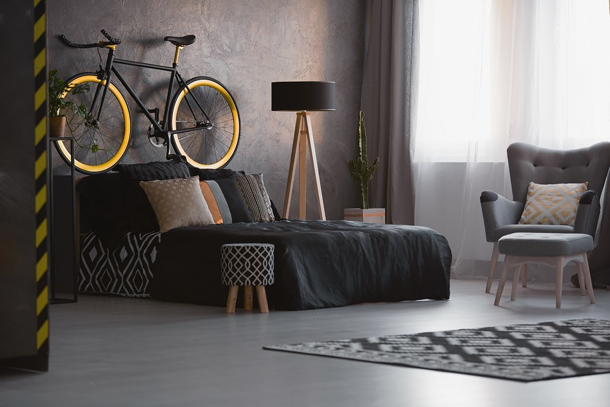 Dark living room with bicycle