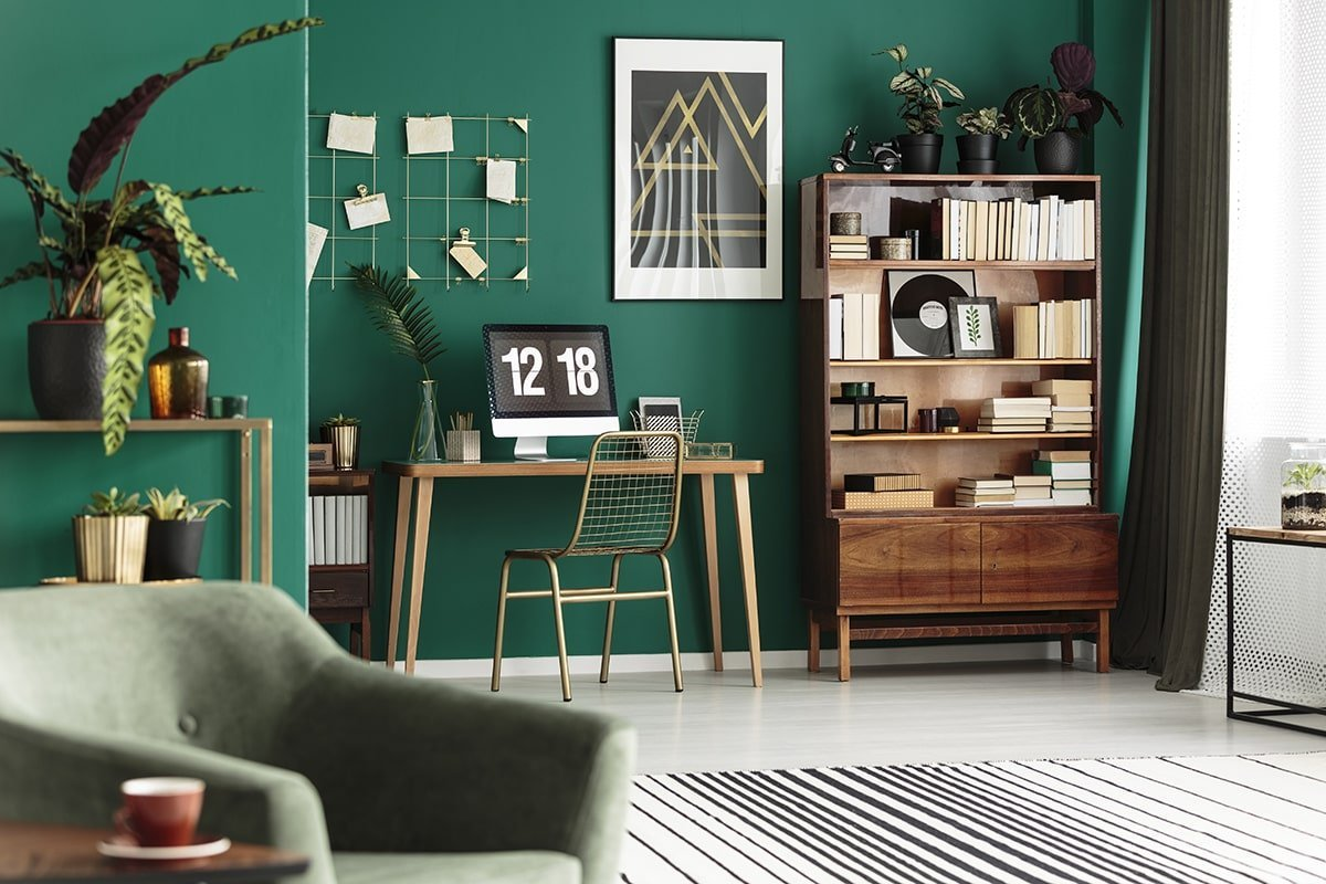 Green and gold themed home office