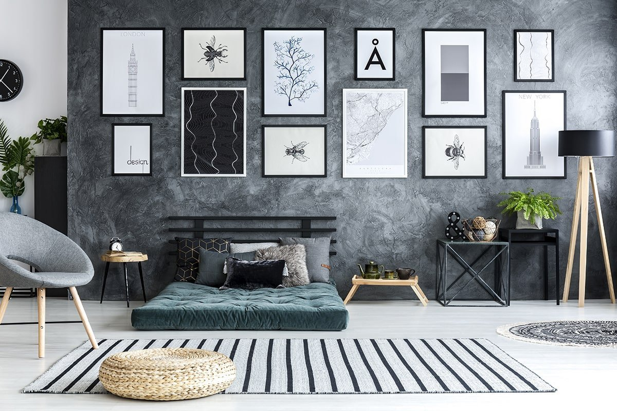 Masculine grey-themed bedroom