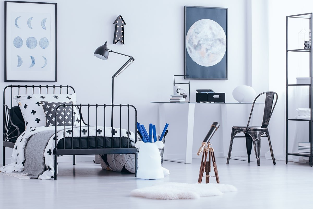 Teenager's bedroom with moon poster