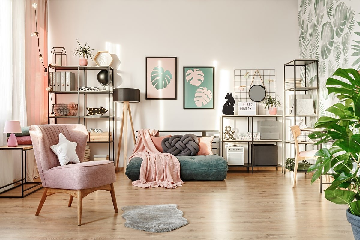 Pink themed living room
