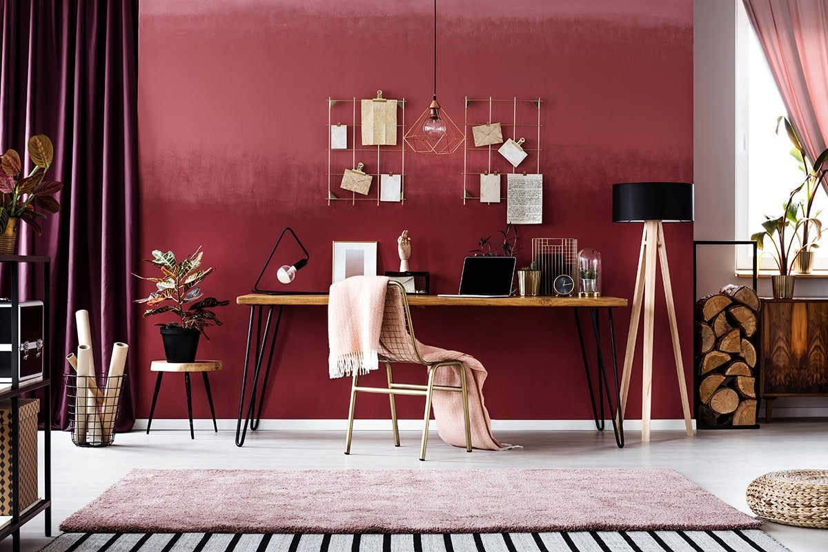Home office with red color scheme