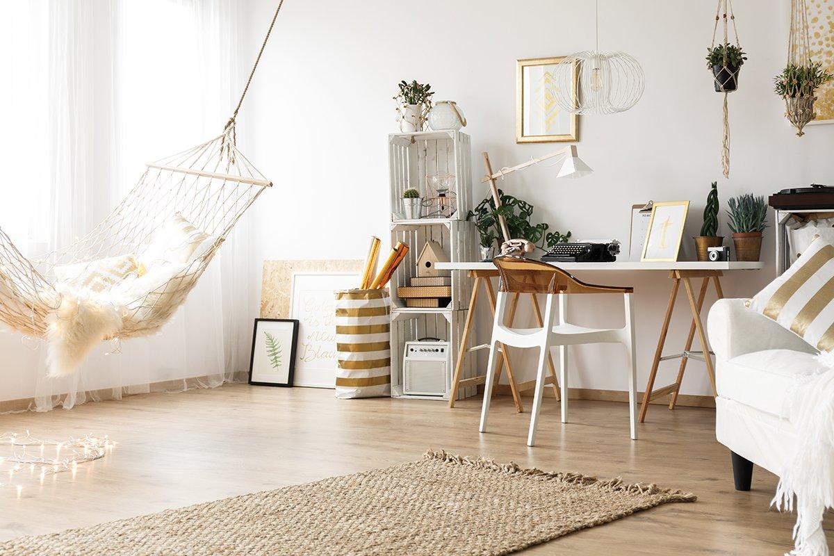 Trendy home interior in modern boho style