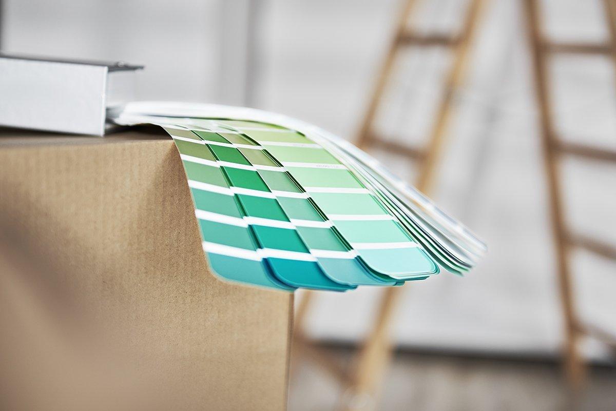 Paper color palette on cardboard box