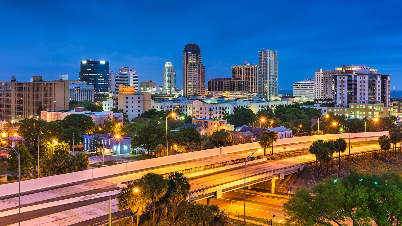St. Petersburg, Florida, USA downtown skyline at dusk.