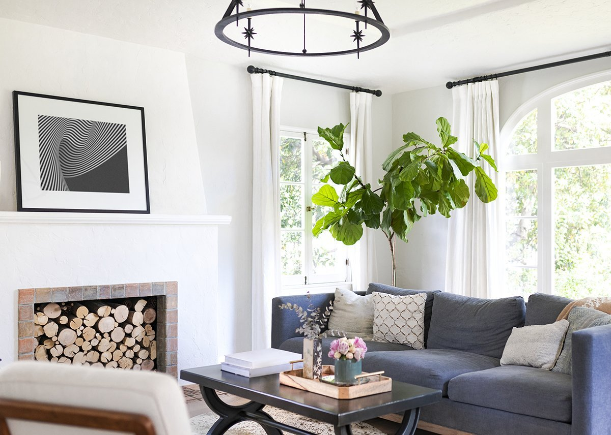 Simple living room interior with lots of natural light