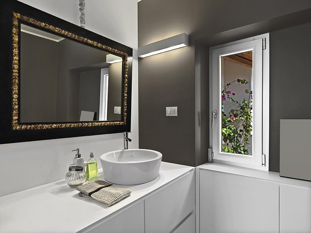 modern bathroom interior with large mirror above the bathroom sink