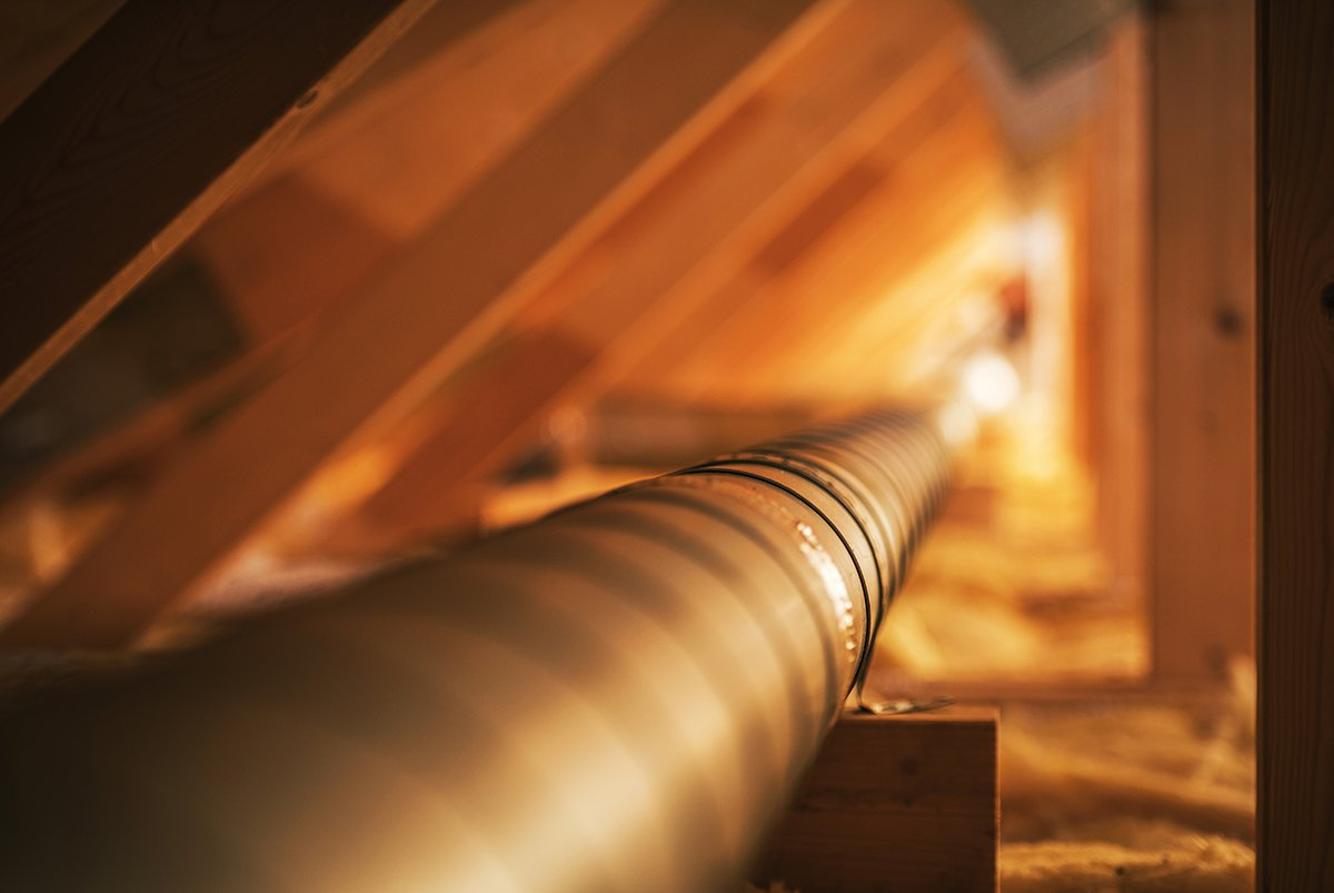 HVAC Industry Theme. Wooden Attic Structure Installed Metal Air Shaft. Pipeline to Distribute Fresh and Clean Air