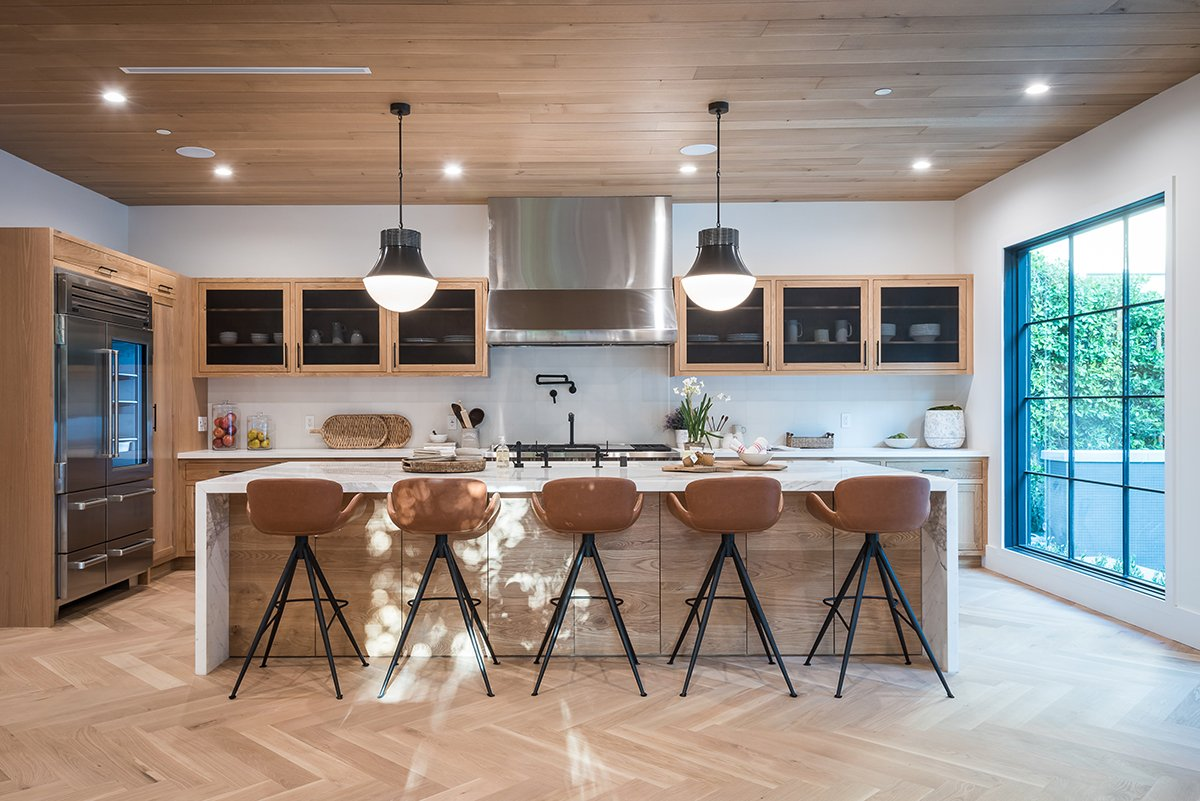 Modern wide open kitchen with large island