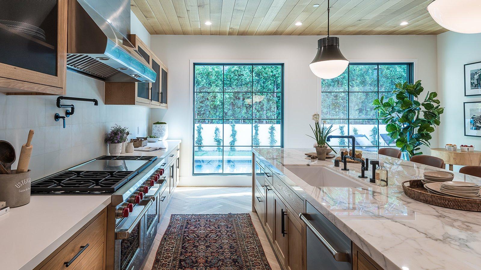 Modern kitchen with large windows
