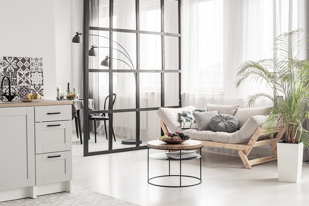 Open space kitchen and living room interior with mullions wall and scandinvian design