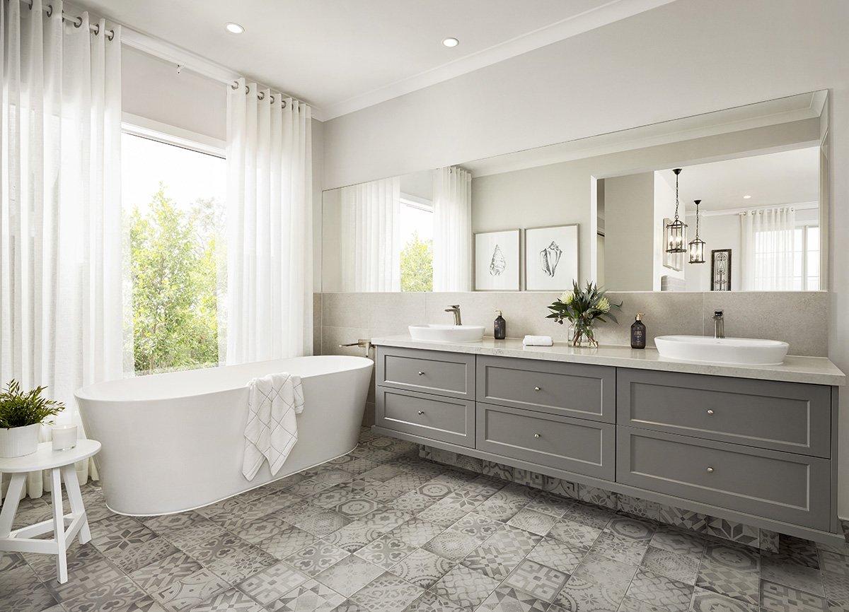 Linoleum flooring in modern bright bathroom