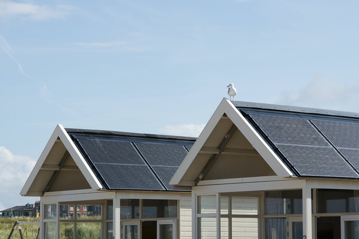 Cabins with solar panels on roof