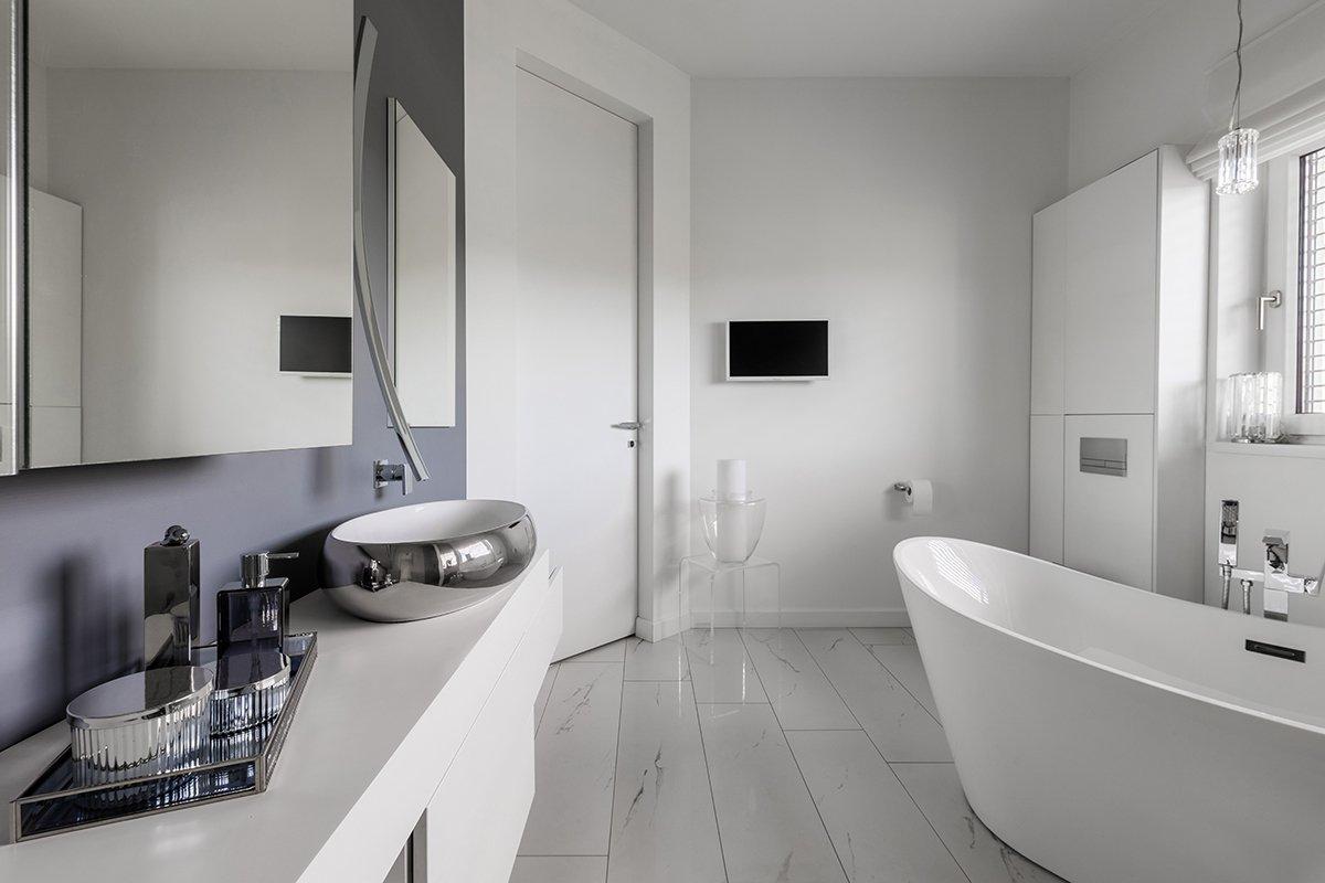 Elegant bathroom interior of modern suburban house