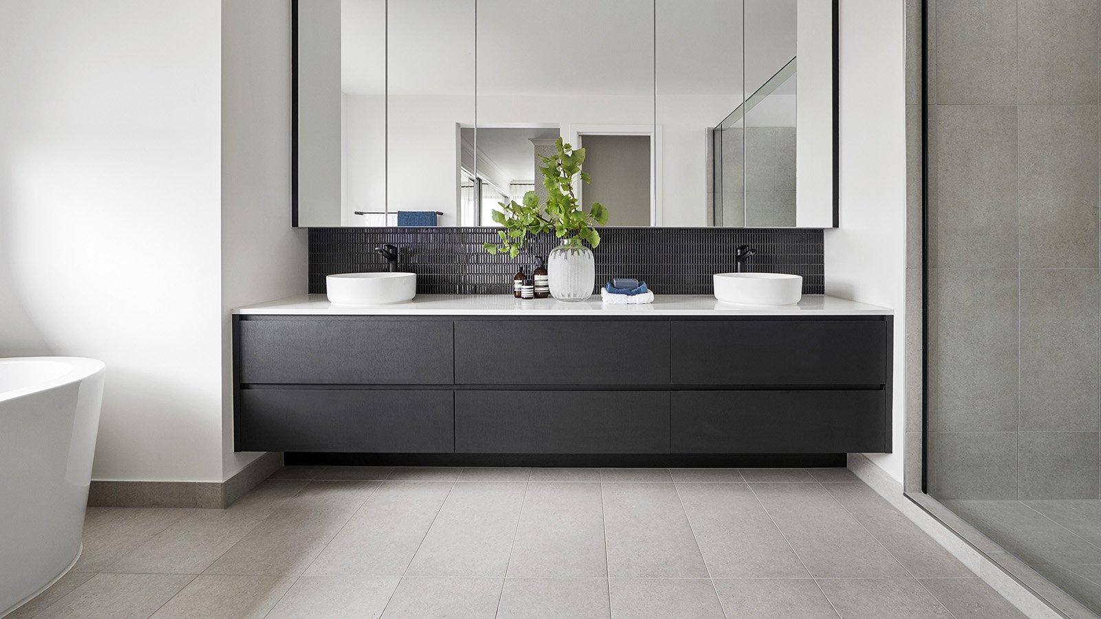 Tile floor in bathroom